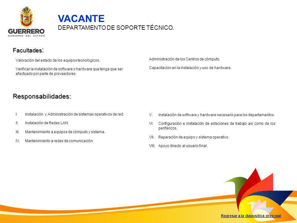 VACANTE Responsabilidades: DEPARTAMENTO DE SOPORTE TÉCNICO.
