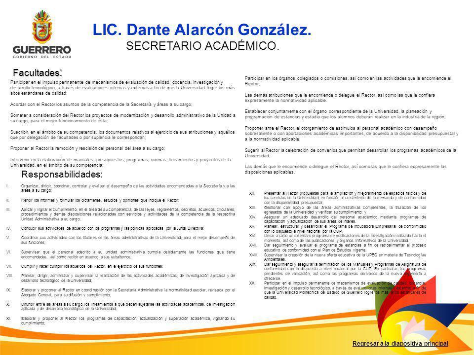 LIC. Dante Alarcón González.