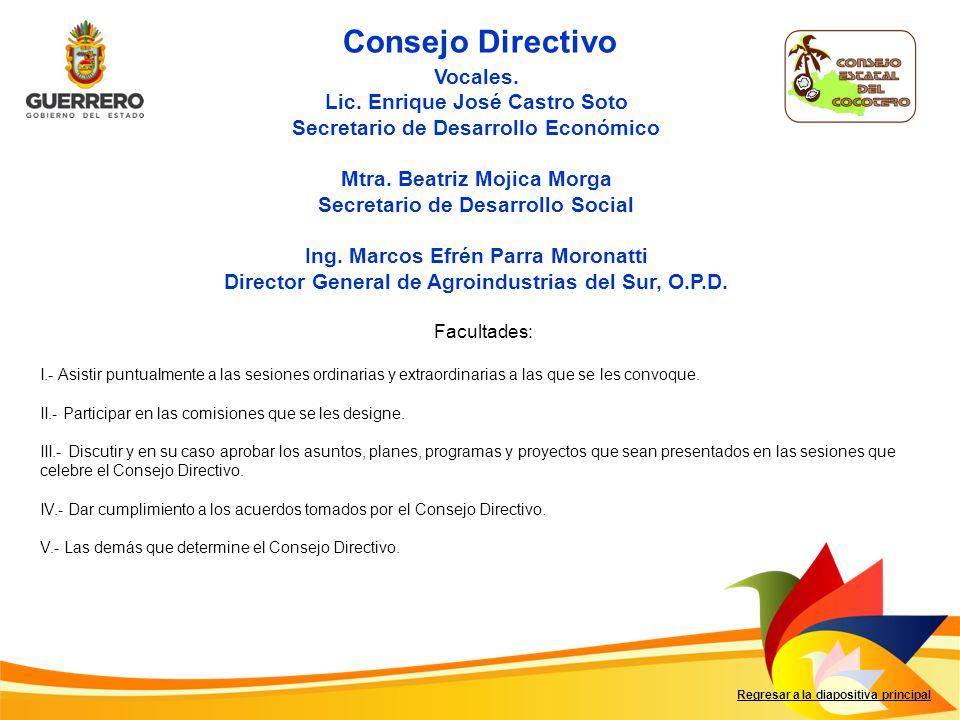 Consejo Directivo Vocales. Lic. Enrique José Castro Soto