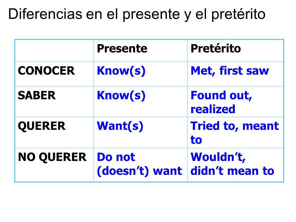 Diferencias en el presente y el pretérito