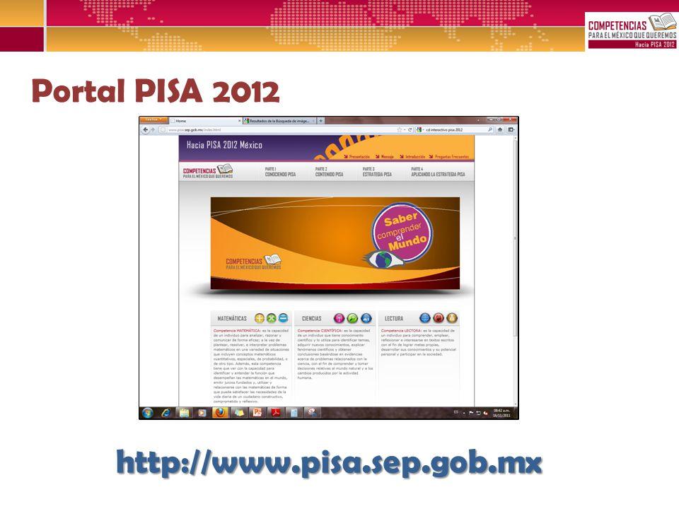Portal PISA 2012 http://www.pisa.sep.gob.mx