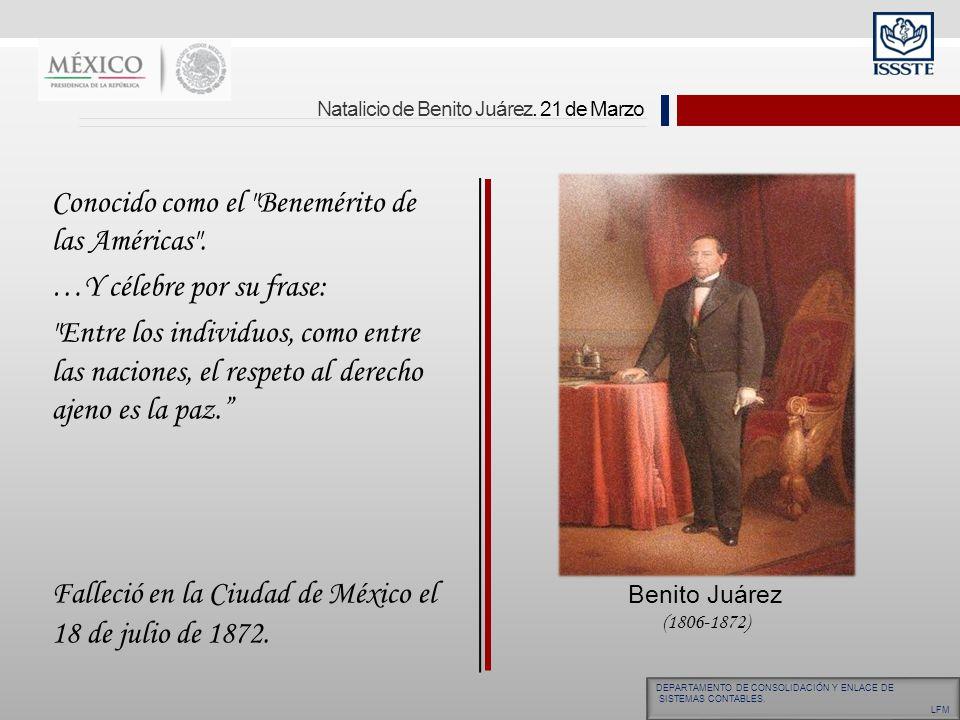 Natalicio de Benito Juárez. 21 de Marzo