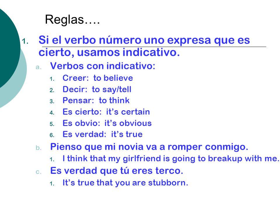 Reglas…. Si el verbo número uno expresa que es cierto, usamos indicativo. Verbos con indicativo: Creer: to believe.