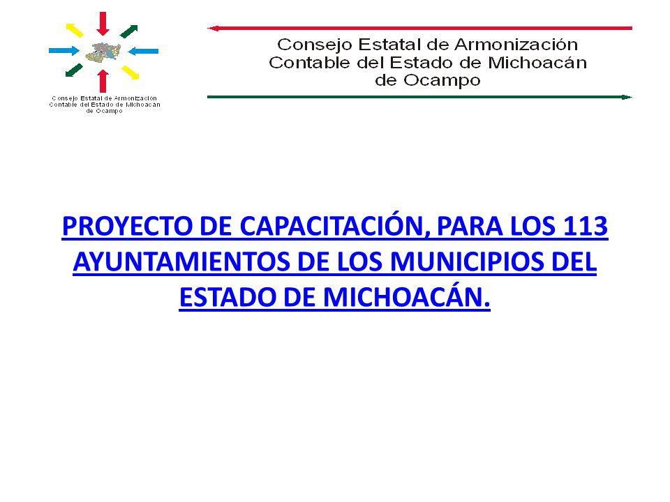 PROYECTO DE CAPACITACIÓN, PARA LOS 113 AYUNTAMIENTOS DE LOS MUNICIPIOS DEL ESTADO DE MICHOACÁN.