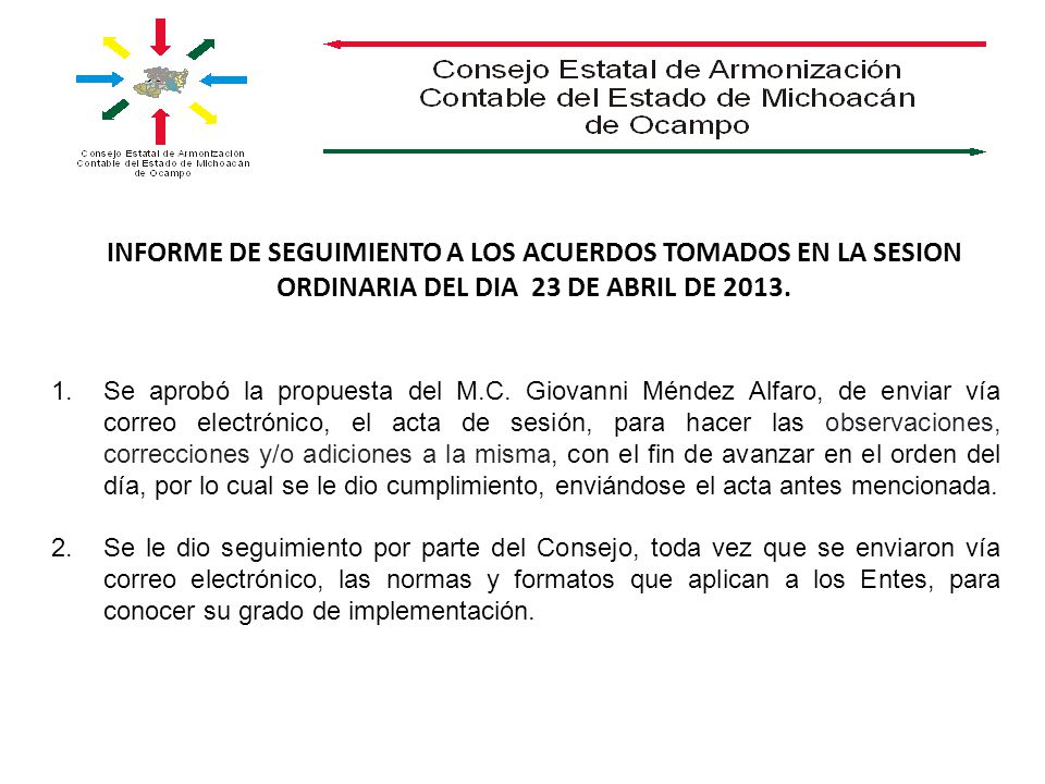 INFORME DE SEGUIMIENTO A LOS ACUERDOS TOMADOS EN LA SESION ORDINARIA DEL DIA 23 DE ABRIL DE 2013.