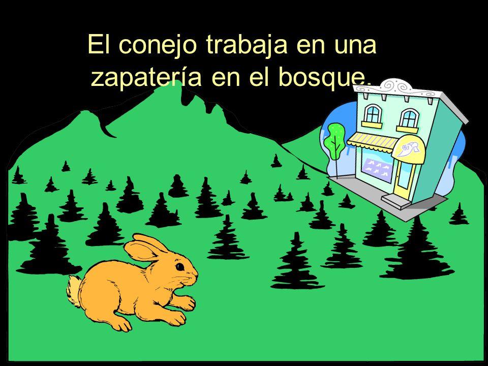 El conejo trabaja en una zapatería en el bosque.