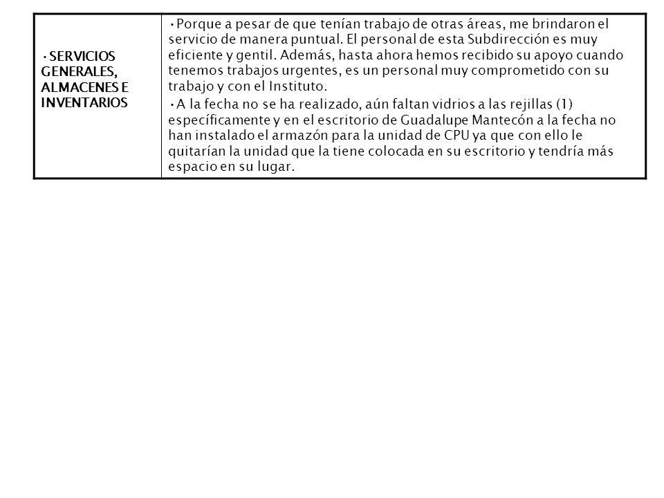 SERVICIOS GENERALES, ALMACENES E INVENTARIOS