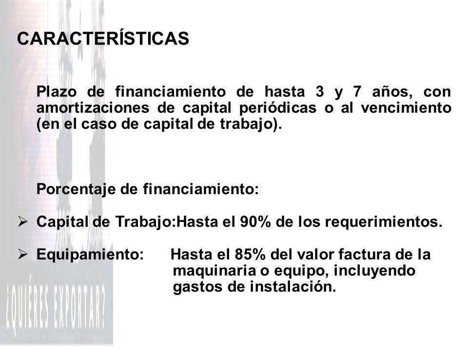 CARACTERÍSTICAS Porcentaje de financiamiento: