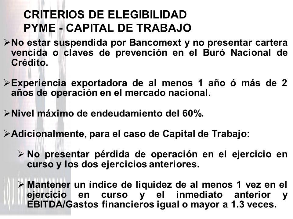 CRITERIOS DE ELEGIBILIDAD PYME - CAPITAL DE TRABAJO