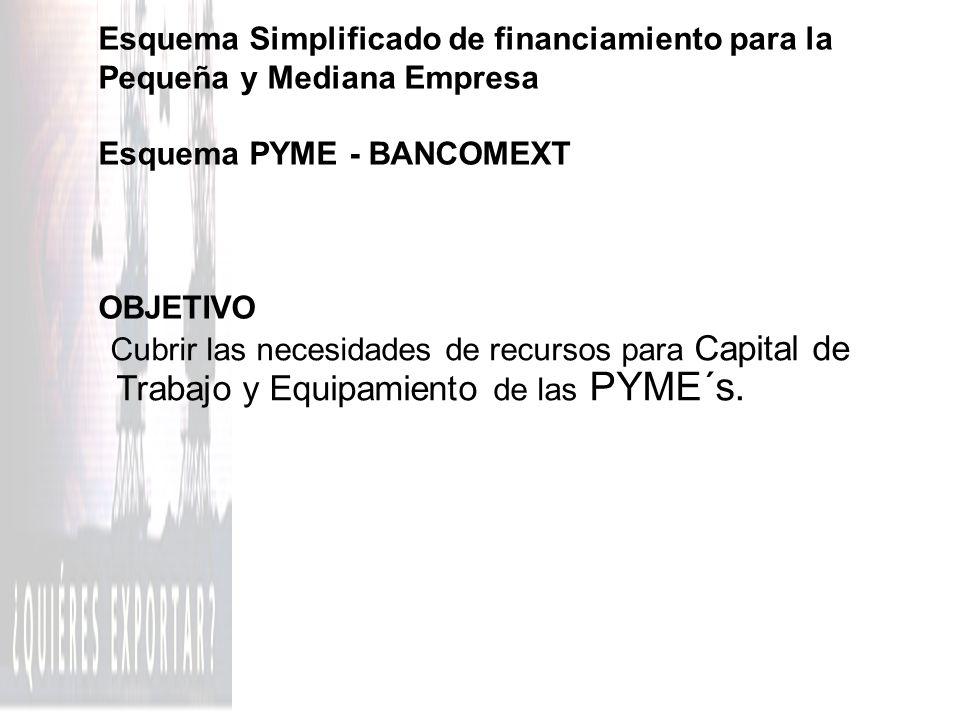 Esquema Simplificado de financiamiento para la Pequeña y Mediana Empresa Esquema PYME - BANCOMEXT OBJETIVO