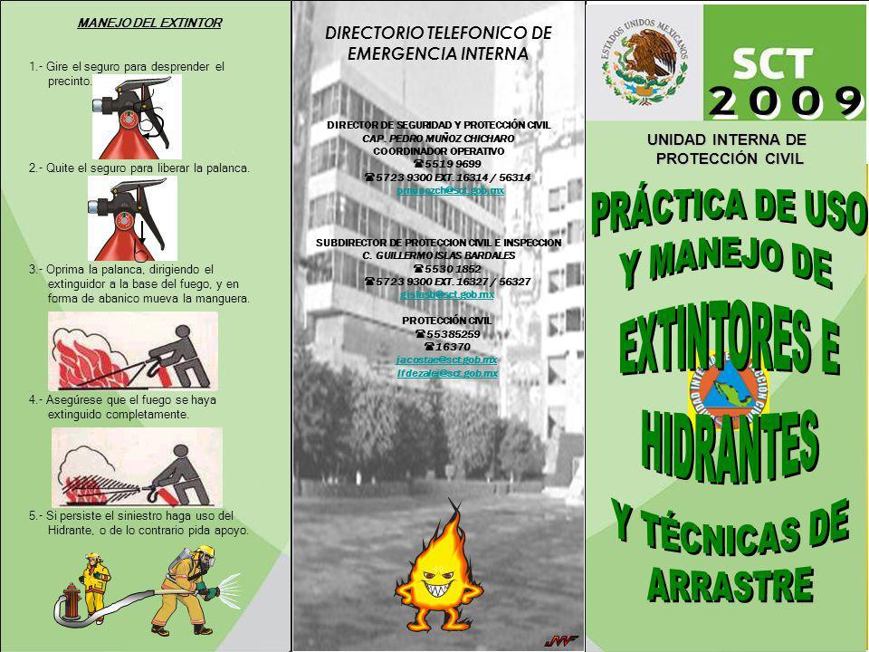 2009 PRÁCTICA DE USO Y MANEJO DE EXTINTORES E HIDRANTES Y TÉCNICAS DE