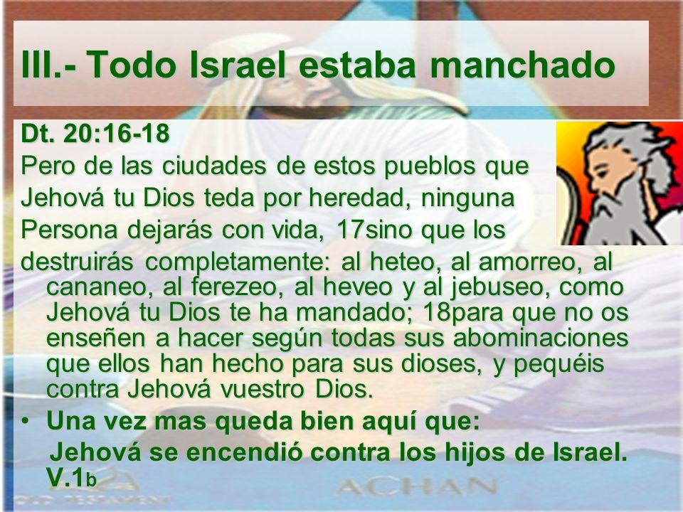 III.- Todo Israel estaba manchado