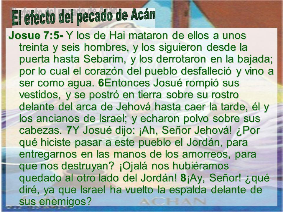 El efecto del pecado de Acán