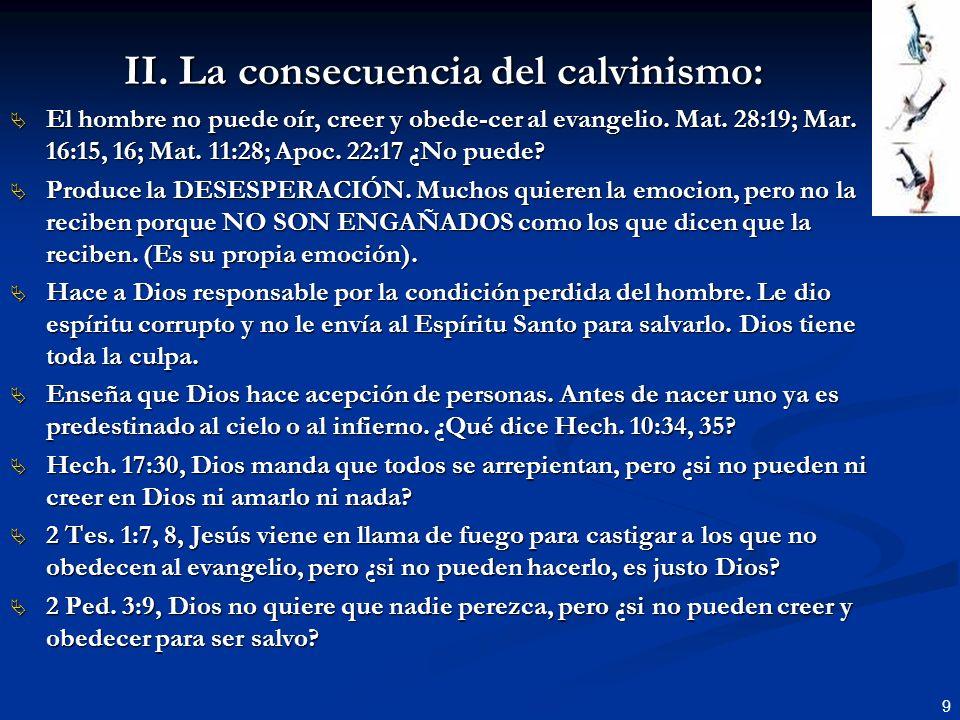 II. La consecuencia del calvinismo: