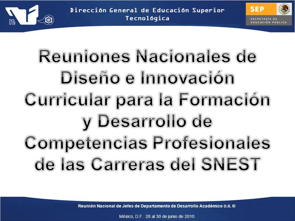 Reuniones Nacionales de Diseño e Innovación Curricular para la Formación y Desarrollo de Competencias Profesionales de las Carreras del SNEST