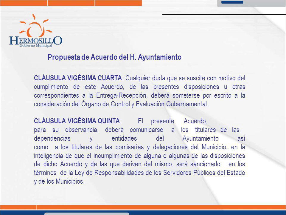 Propuesta de Acuerdo del H. Ayuntamiento