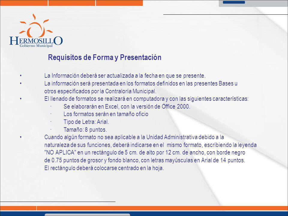 Requisitos de Forma y Presentación