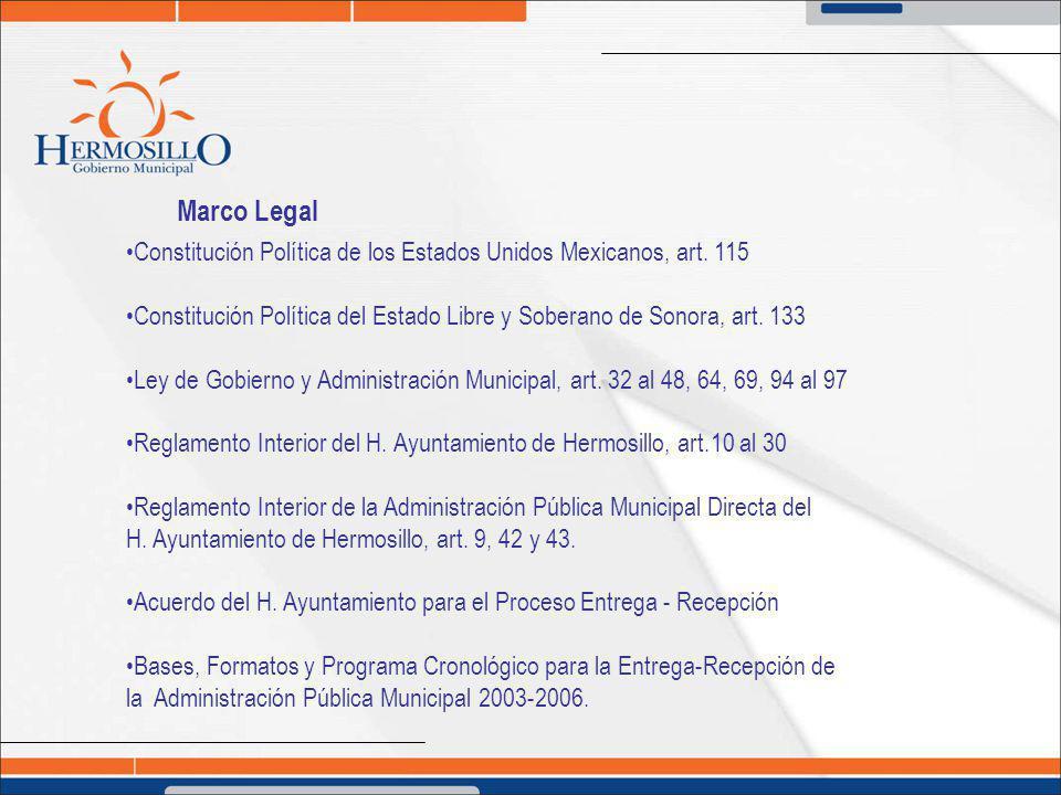 Marco Legal Constitución Política de los Estados Unidos Mexicanos, art. 115. Constitución Política del Estado Libre y Soberano de Sonora, art. 133.