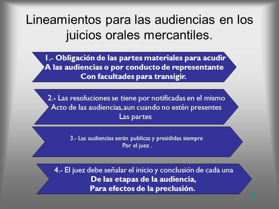Lineamientos para las audiencias en los juicios orales mercantiles.