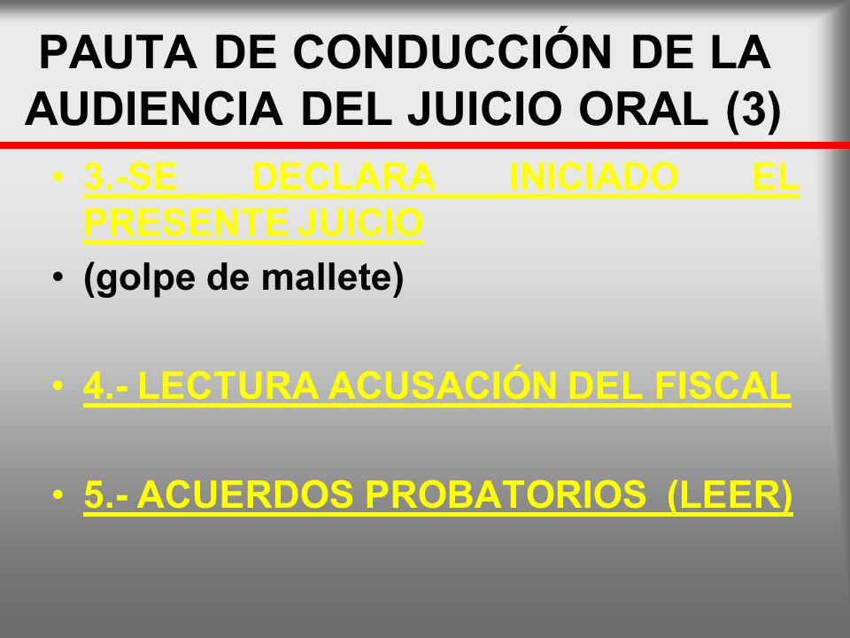PAUTA DE CONDUCCIÓN DE LA AUDIENCIA DEL JUICIO ORAL (3)