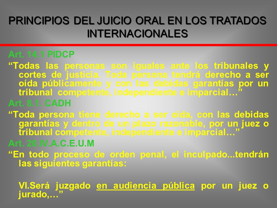 PRINCIPIOS DEL JUICIO ORAL EN LOS TRATADOS INTERNACIONALES