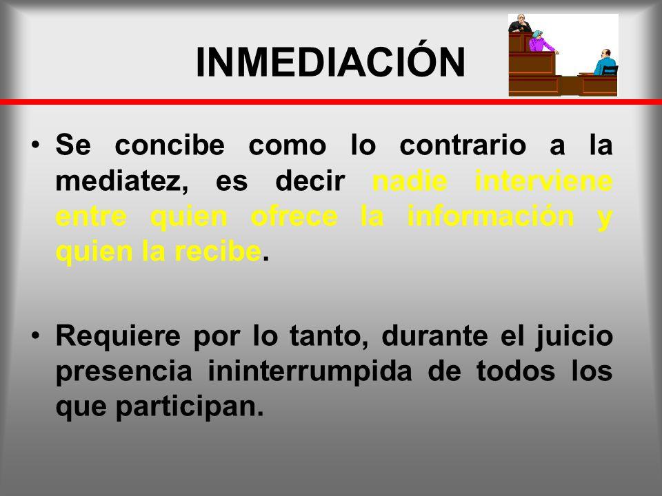 INMEDIACIÓN Se concibe como lo contrario a la mediatez, es decir nadie interviene entre quien ofrece la información y quien la recibe.