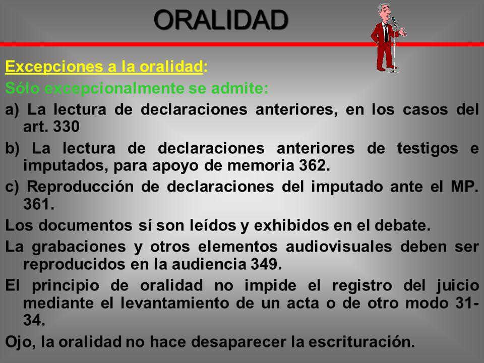 ORALIDAD Excepciones a la oralidad: Sólo excepcionalmente se admite: