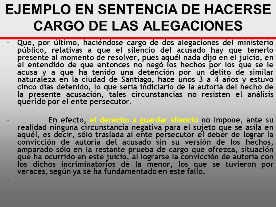 EJEMPLO EN SENTENCIA DE HACERSE CARGO DE LAS ALEGACIONES