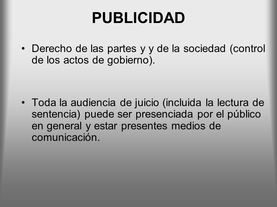 PUBLICIDAD Derecho de las partes y y de la sociedad (control de los actos de gobierno).