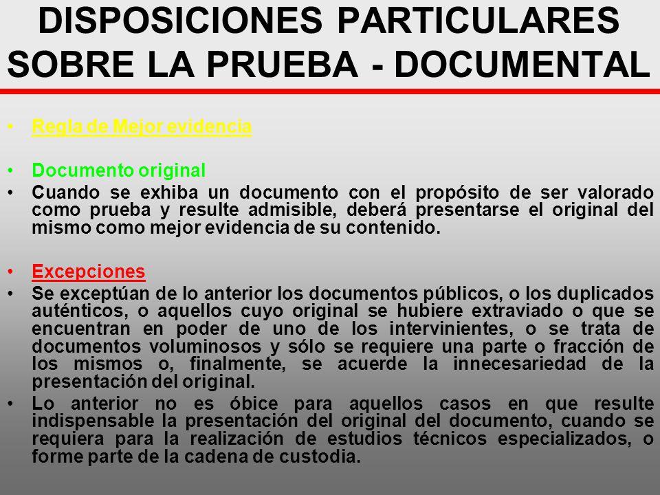 DISPOSICIONES PARTICULARES SOBRE LA PRUEBA - DOCUMENTAL