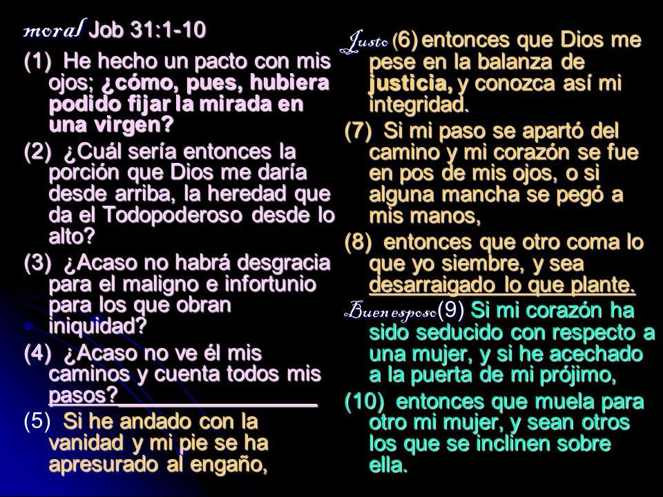 moral Job 31:1-10 (1) He hecho un pacto con mis ojos; ¿cómo, pues, hubiera podido fijar la mirada en una virgen