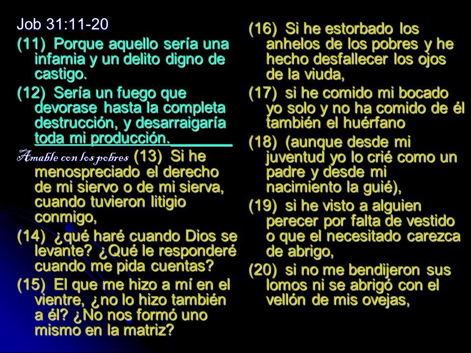 Job 31:11-20 (11) Porque aquello sería una infamia y un delito digno de castigo.