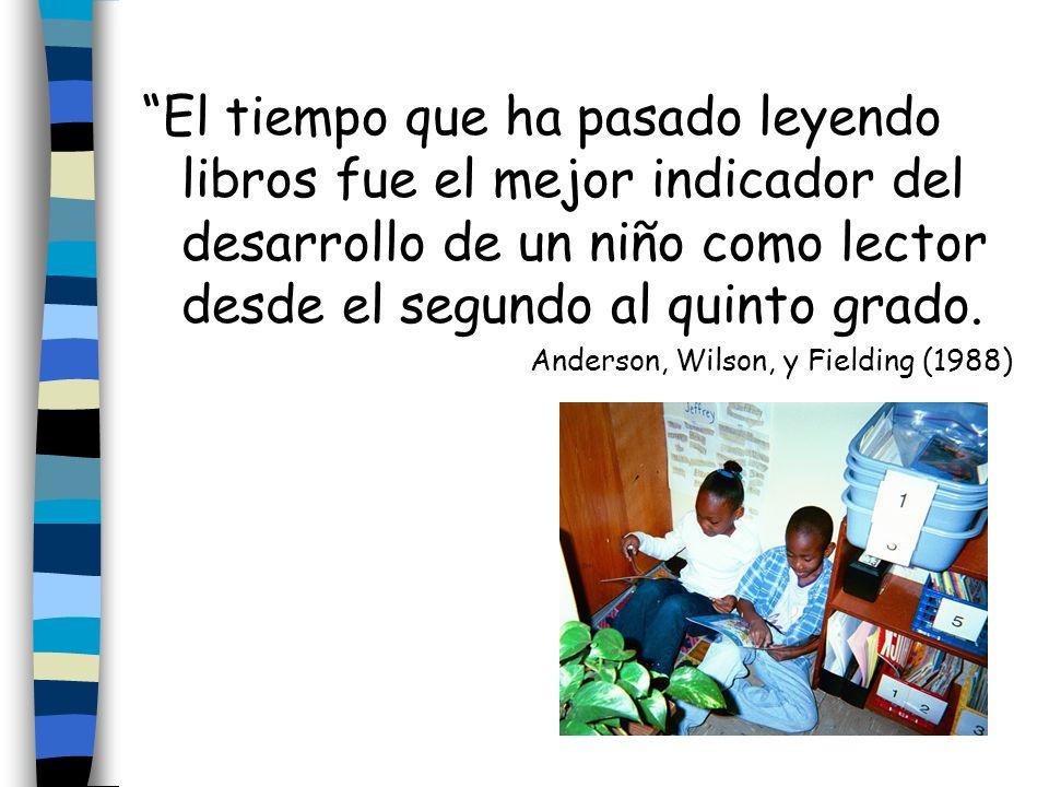 El tiempo que ha pasado leyendo libros fue el mejor indicador del desarrollo de un niño como lector desde el segundo al quinto grado.