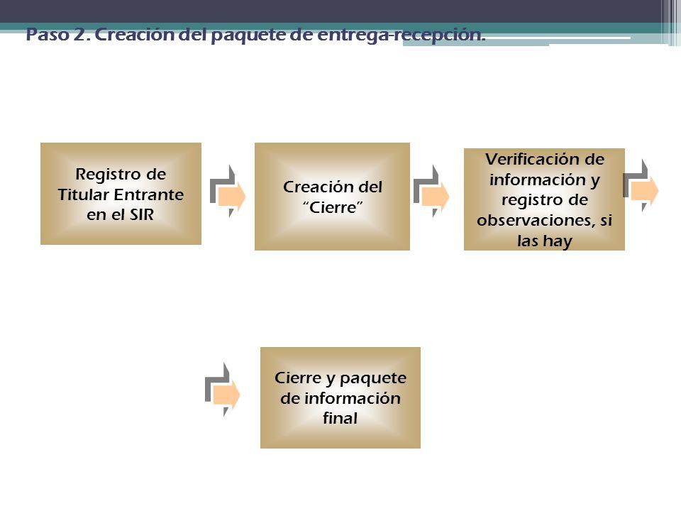 Paso 2. Creación del paquete de entrega-recepción.