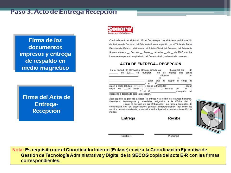 Firma del Acta de Entrega- Recepción
