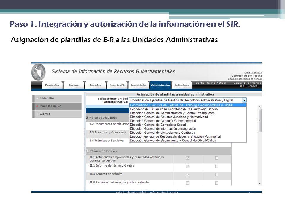 Paso 1. Integración y autorización de la información en el SIR.