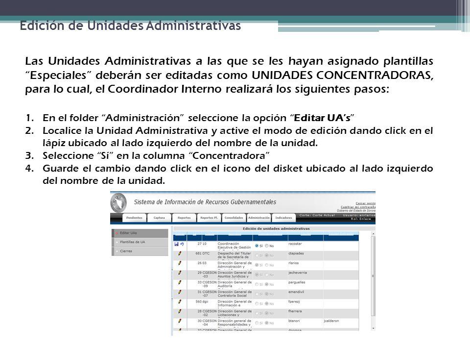 Edición de Unidades Administrativas