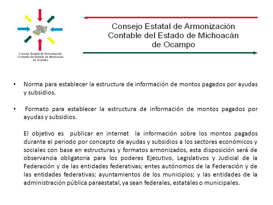 Norma para establecer la estructura de información de montos pagados por ayudas y subsidios.