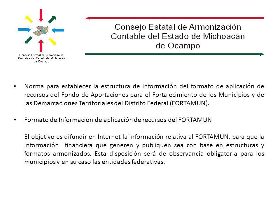 Norma para establecer la estructura de información del formato de aplicación de recursos del Fondo de Aportaciones para el Fortalecimiento de los Municipios y de las Demarcaciones Territoriales del Distrito Federal (FORTAMUN).