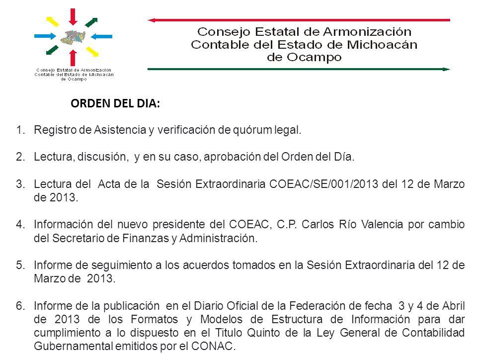 ORDEN DEL DIA: Registro de Asistencia y verificación de quórum legal.