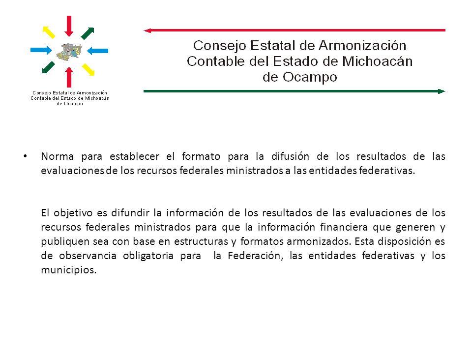 Norma para establecer el formato para la difusión de los resultados de las evaluaciones de los recursos federales ministrados a las entidades federativas.