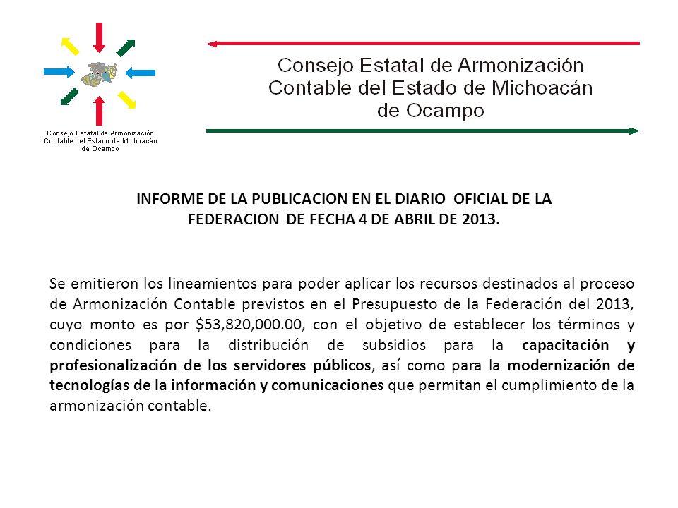 INFORME DE LA PUBLICACION EN EL DIARIO OFICIAL DE LA FEDERACION DE FECHA 4 DE ABRIL DE 2013.