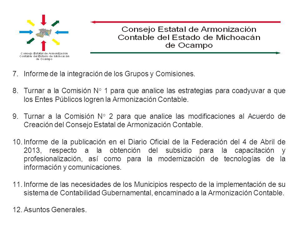 Informe de la integración de los Grupos y Comisiones.