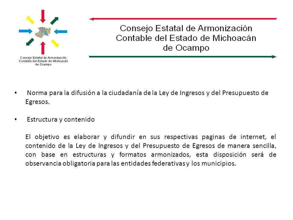 Norma para la difusión a la ciudadanía de la Ley de Ingresos y del Presupuesto de Egresos.