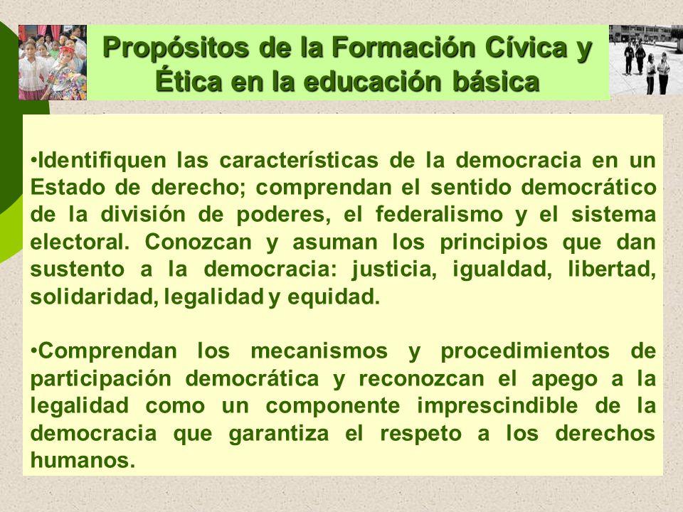 Propósitos de la Formación Cívica y Ética en la educación básica