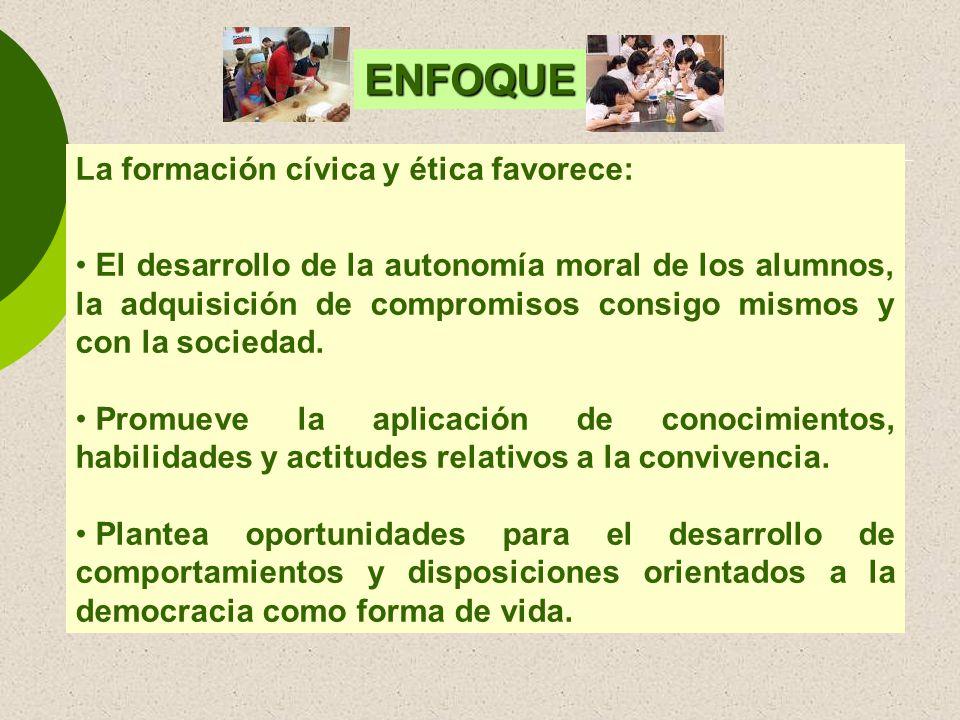 ENFOQUE La formación cívica y ética favorece: