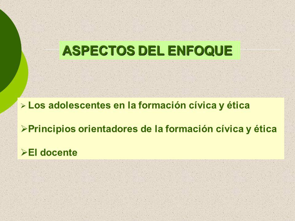 ASPECTOS DEL ENFOQUE Los adolescentes en la formación cívica y ética. Principios orientadores de la formación cívica y ética.