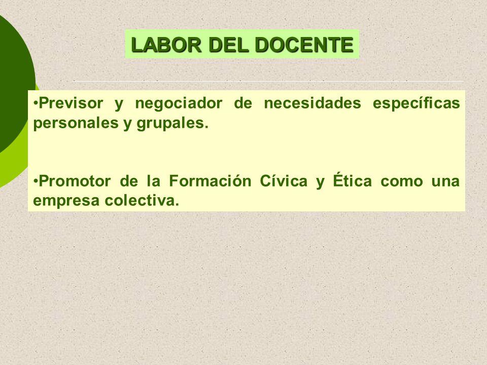 LABOR DEL DOCENTE Previsor y negociador de necesidades específicas personales y grupales.