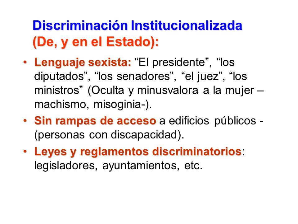 Discriminación Institucionalizada (De, y en el Estado):