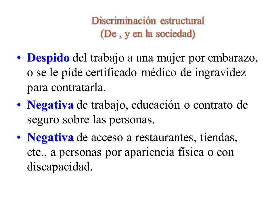 Discriminación estructural (De , y en la sociedad)